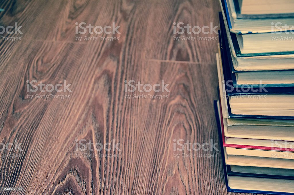books in library stock photo