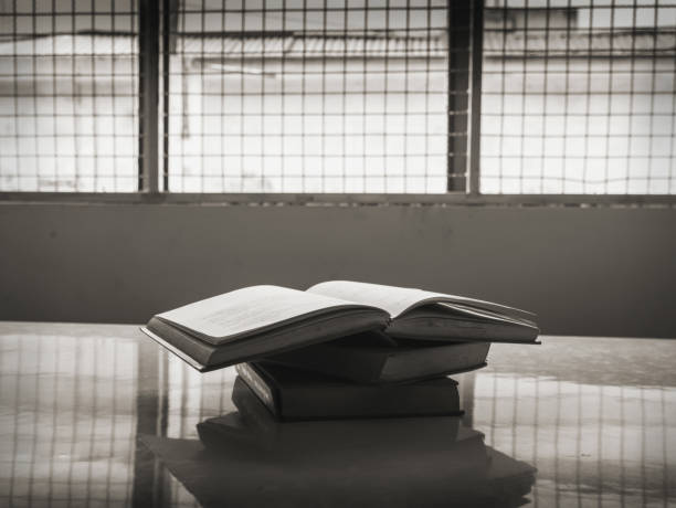 Books in prison, concept of freedom of thought stock photo