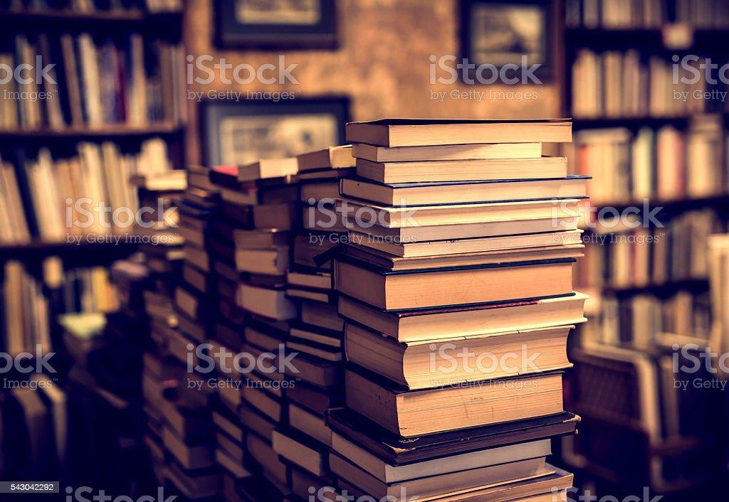 books in second-hand bookshop stock photo