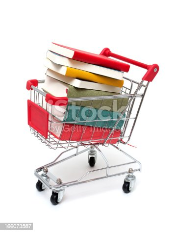 istock Books in Shopping Cart isolated on white background 166073587