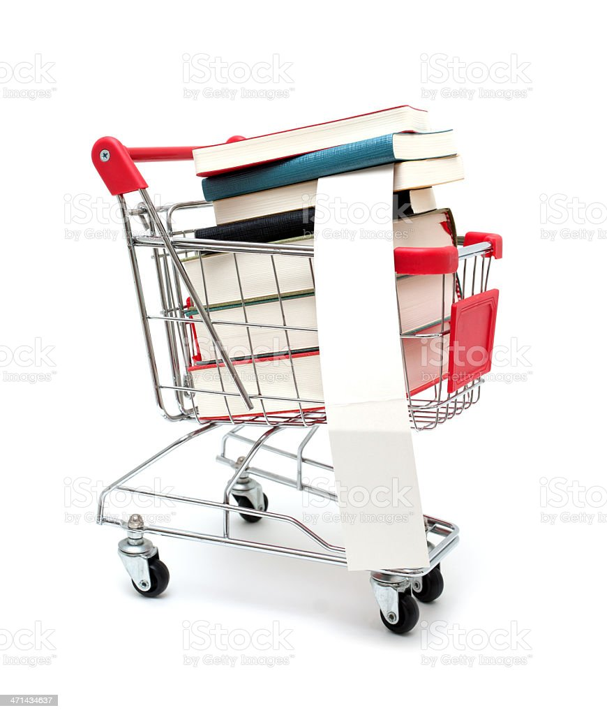 Books in Shopping Cart isolated on white background stock photo