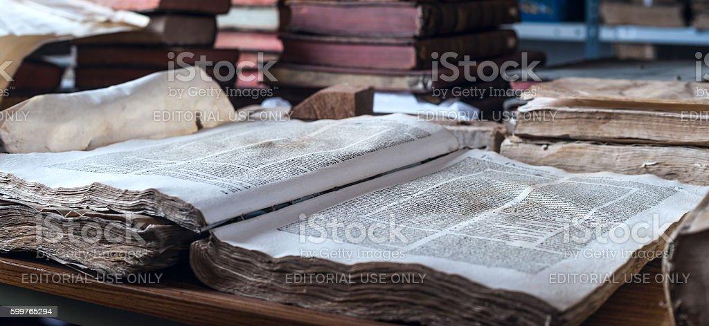 Books in the Ricoleta Library in Arequipa, Peru stock photo