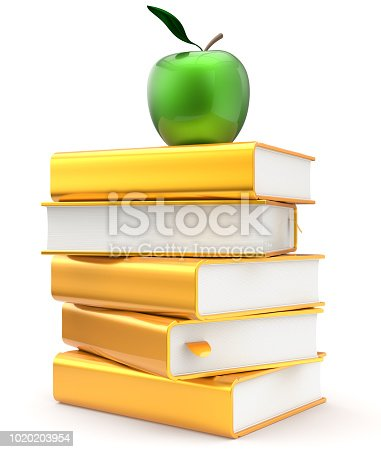 Books literature golden yellow textbook stack apple green, education studying reading learning, school library, knowledge idea icon concept. 3d render isolated on white