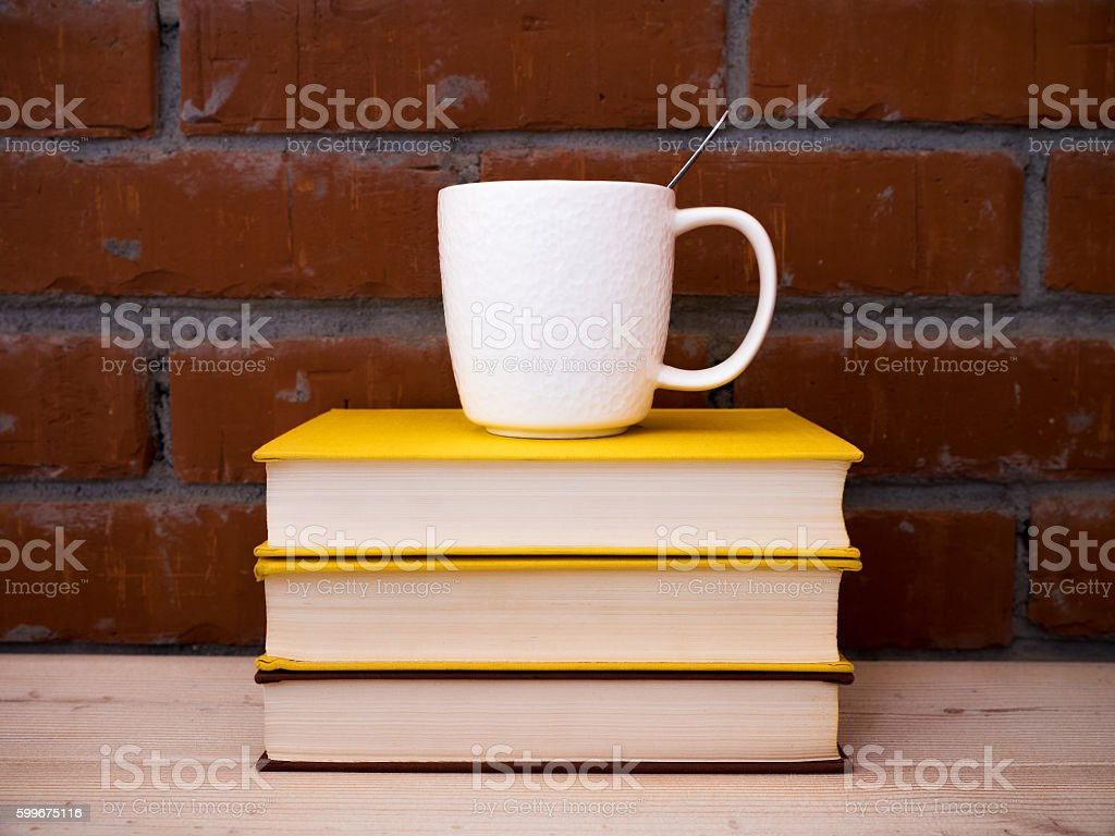 Books lying on the table stock photo