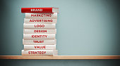 istock Books of  Advertising And Branding In Front Grey Wall 1140385944