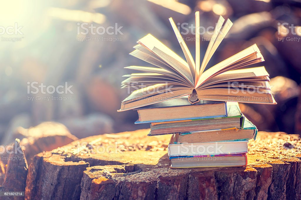 books on natural background. Lizenzfreies stock-foto