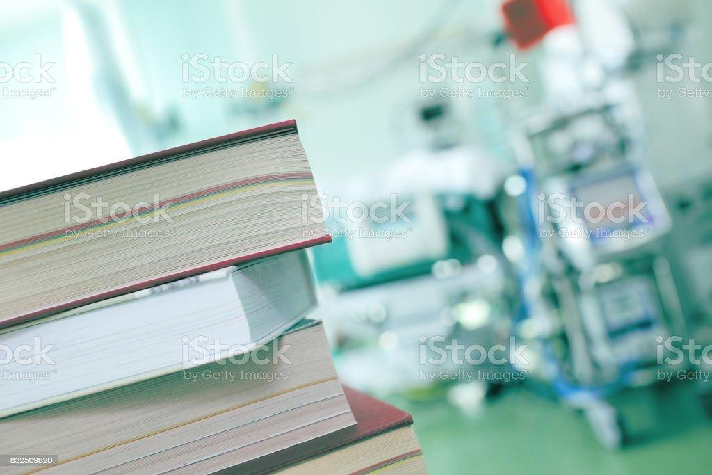 Books on the hospital background stock photo
