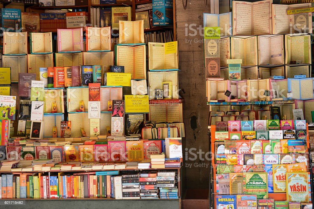 Books on the shelves for sale stock photo