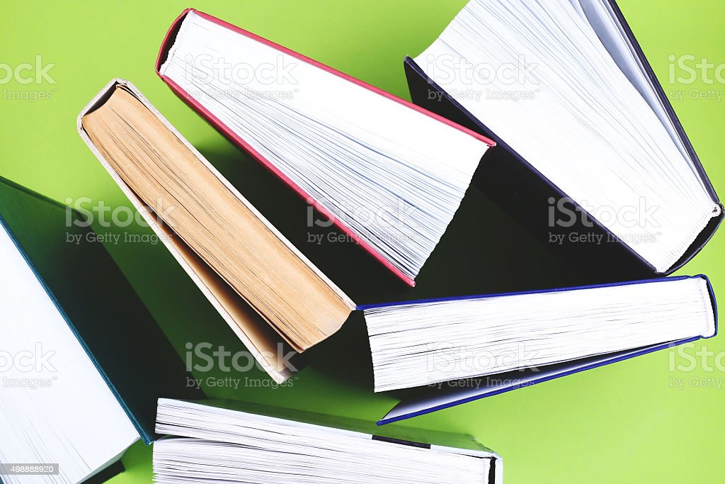 Books on the table stock photo