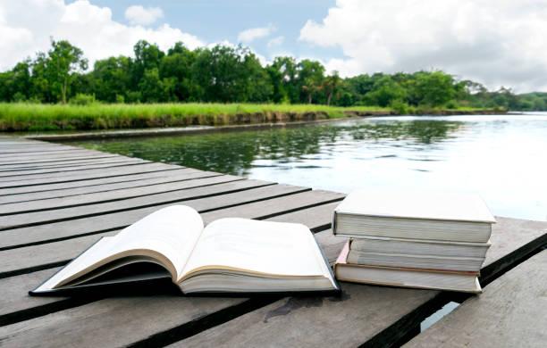 나무 바닥의 수 변 지역 인접 한 호수 또는 강 자연 숲 배경 텍스트 복사 공간에 다리에 책. 교육에 대 한 개념입니다. 스톡 사진