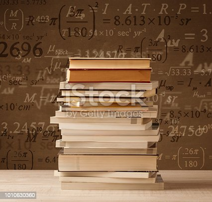 187883159istockphoto Books on vintage background with math formulas 1010630360