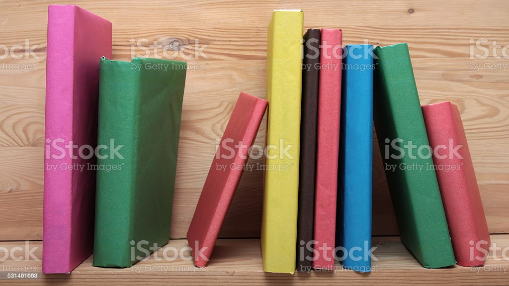 Books On Wooden Shelf Close Up No Labels Blank Spine Royalty