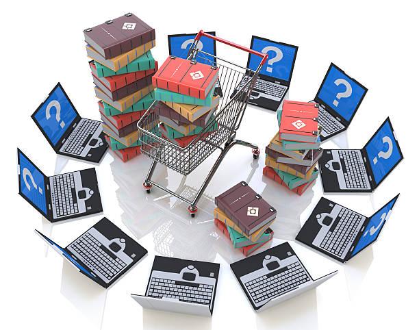 libros en línea. compra de libros - suministros escolares fotografías e imágenes de stock