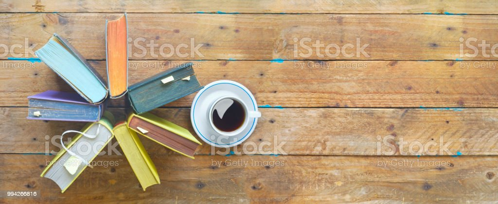 Arrangement of books, panorama format, free copy space.Reading,...