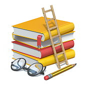 Books, pencil, glasses and wooden ladder 3D render illustration isolated on white background