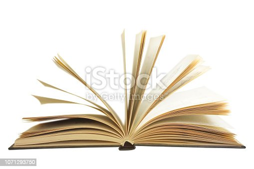 Open book with old yellow pages isolated on white background, side view