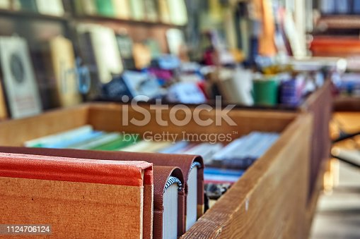 Books in a wooden box