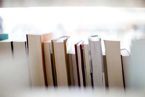 Books against bright background.