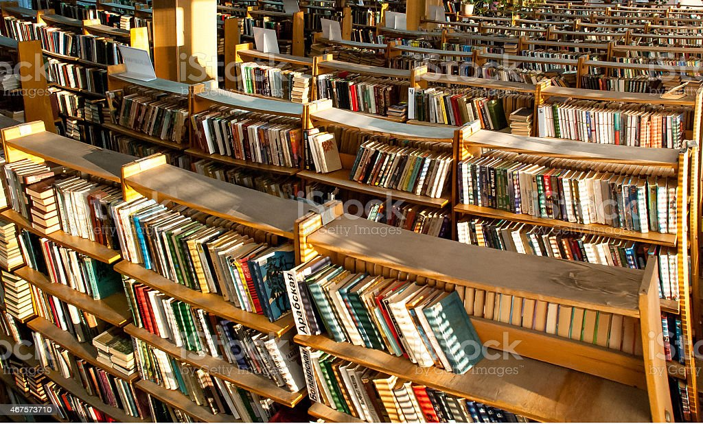 books shelves of books in the library 2015 Stock Photo