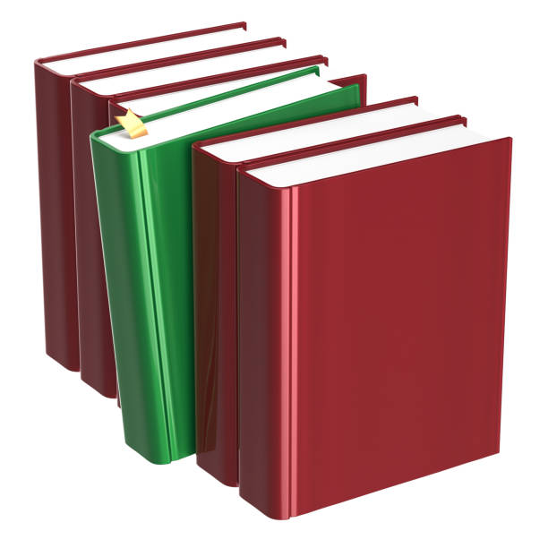Books row blank red one selected green choosing answer stock photo