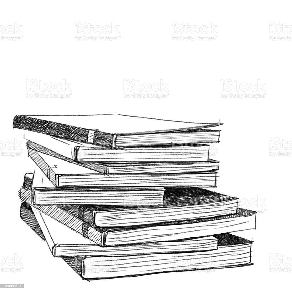 Books sketch royalty-free stock photo