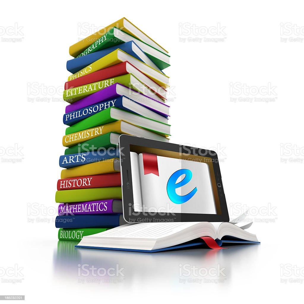 Pilha de livros & tablet eletrônico - foto de acervo