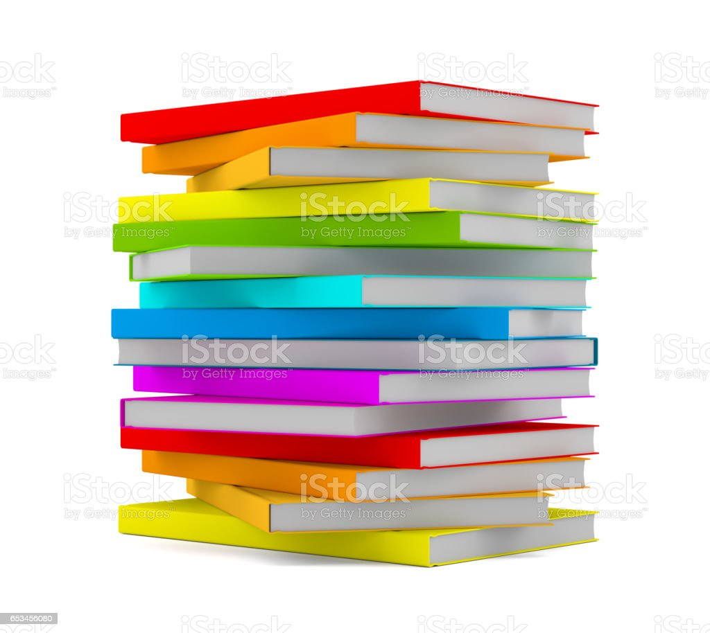 Books stack - isolated on white background stock photo