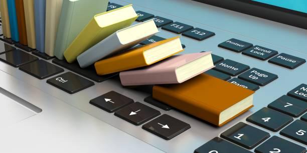 boeken op een laptop toetsenbord gestapeld. 3d illustratie - e learning stockfoto's en -beelden