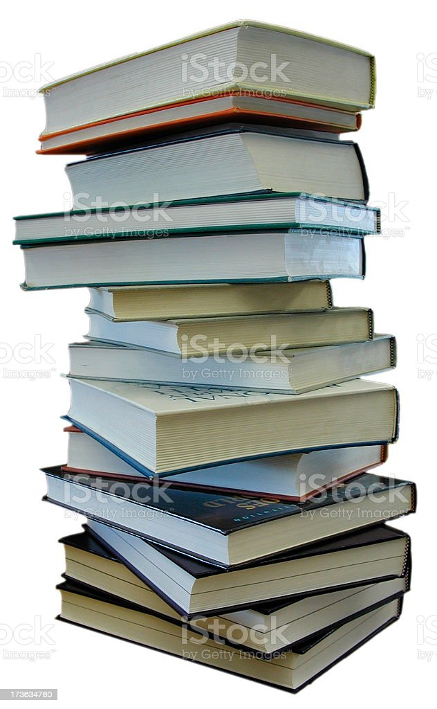Books stacked up w/path royalty-free stock photo