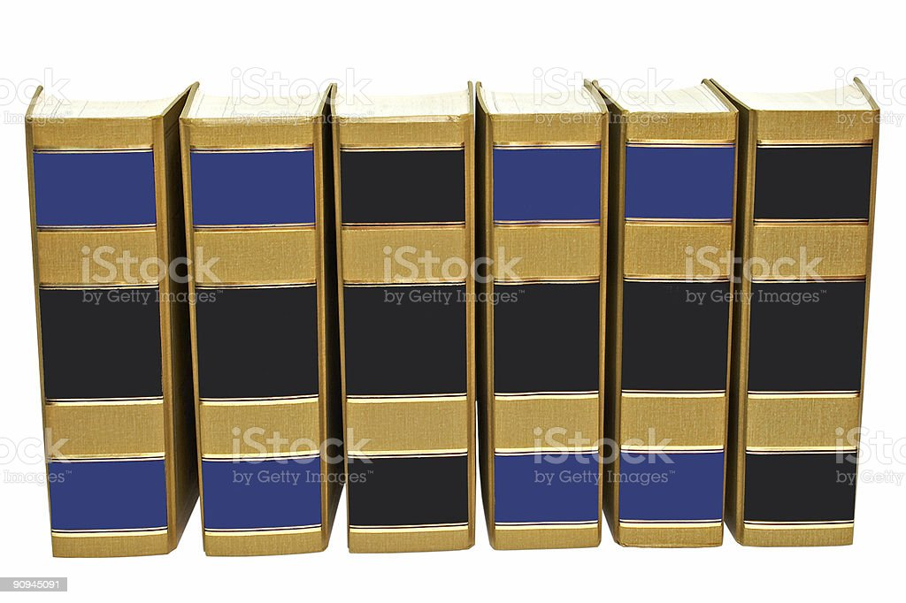 Books standing abreast with clipping path royalty-free stock photo
