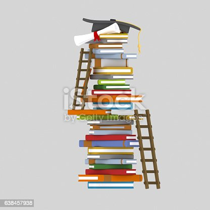 Books tower and ladders