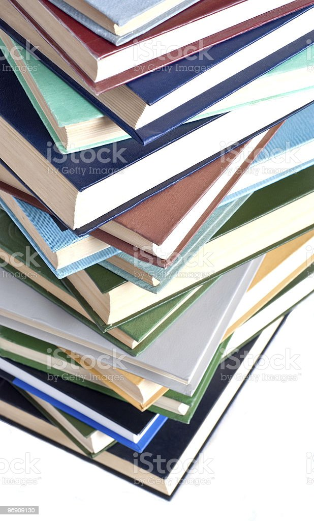Books tower isolated on white royalty-free stock photo
