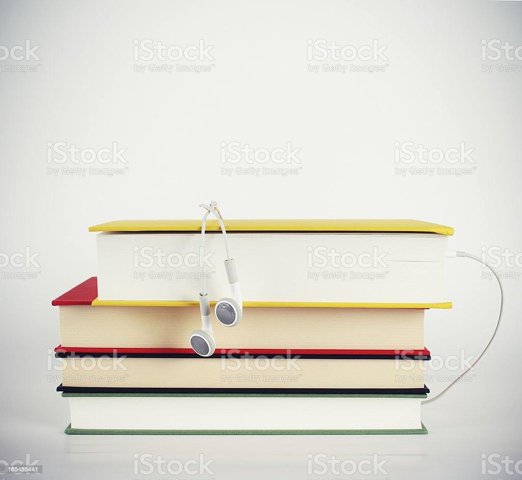 Books vs audiobooks stock photo