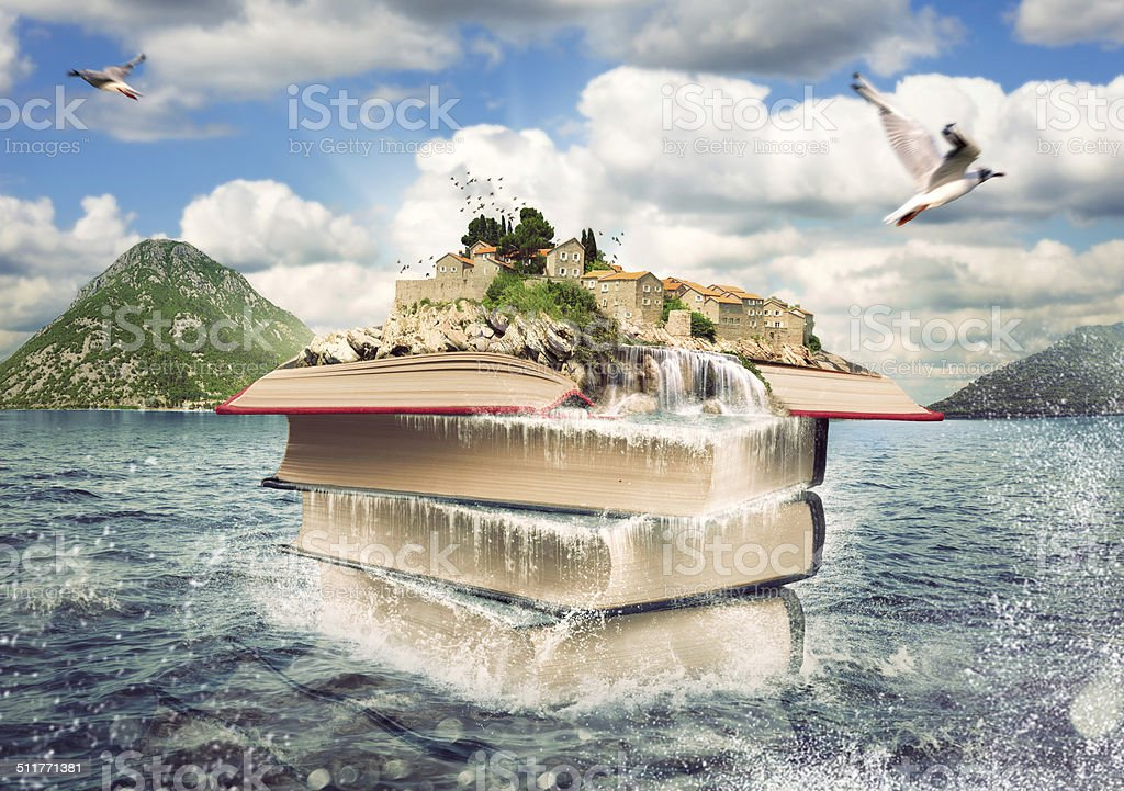 Books with a nice island on the top stock photo
