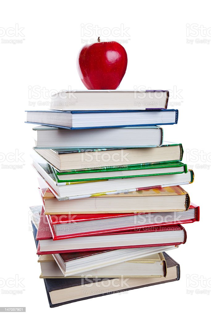 Books With Apple royalty-free stock photo