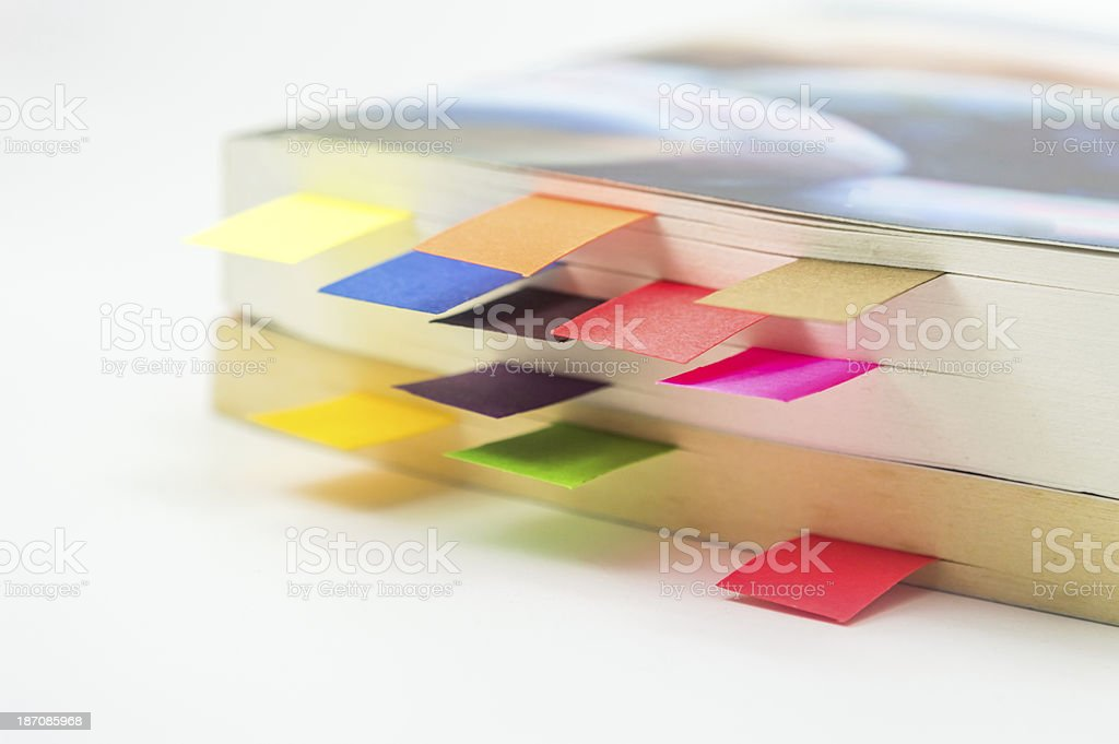 Books with book marks stock photo
