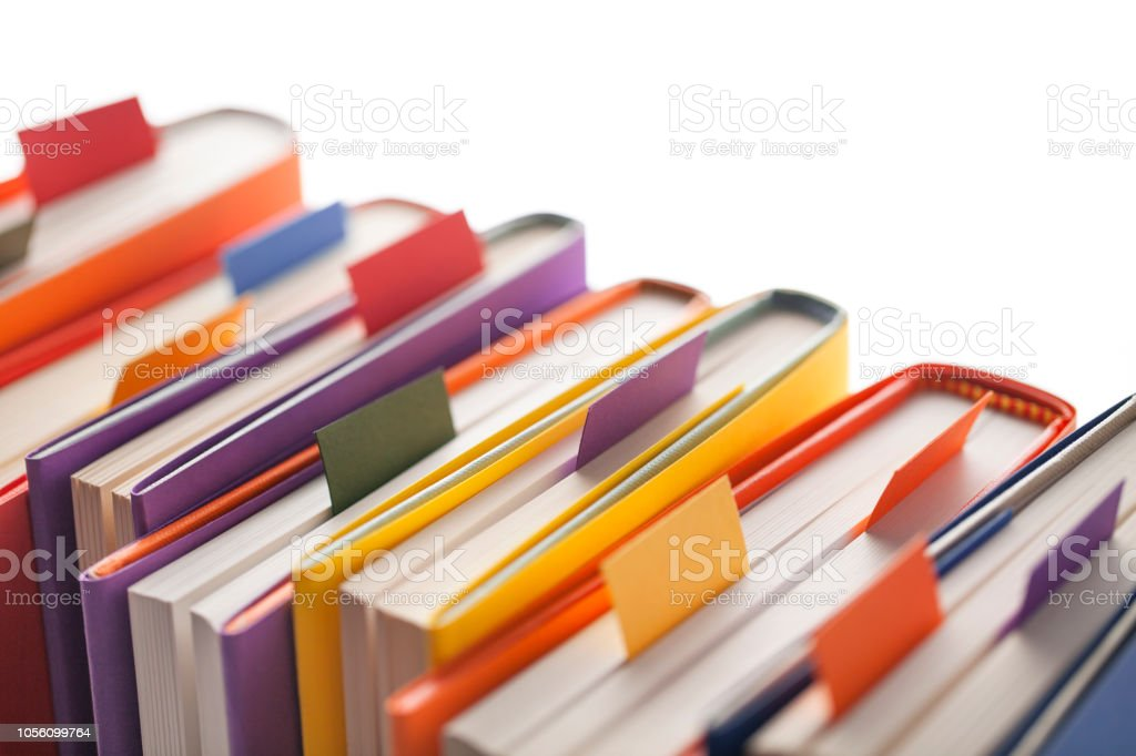 Books with bookmark on white background stock photo