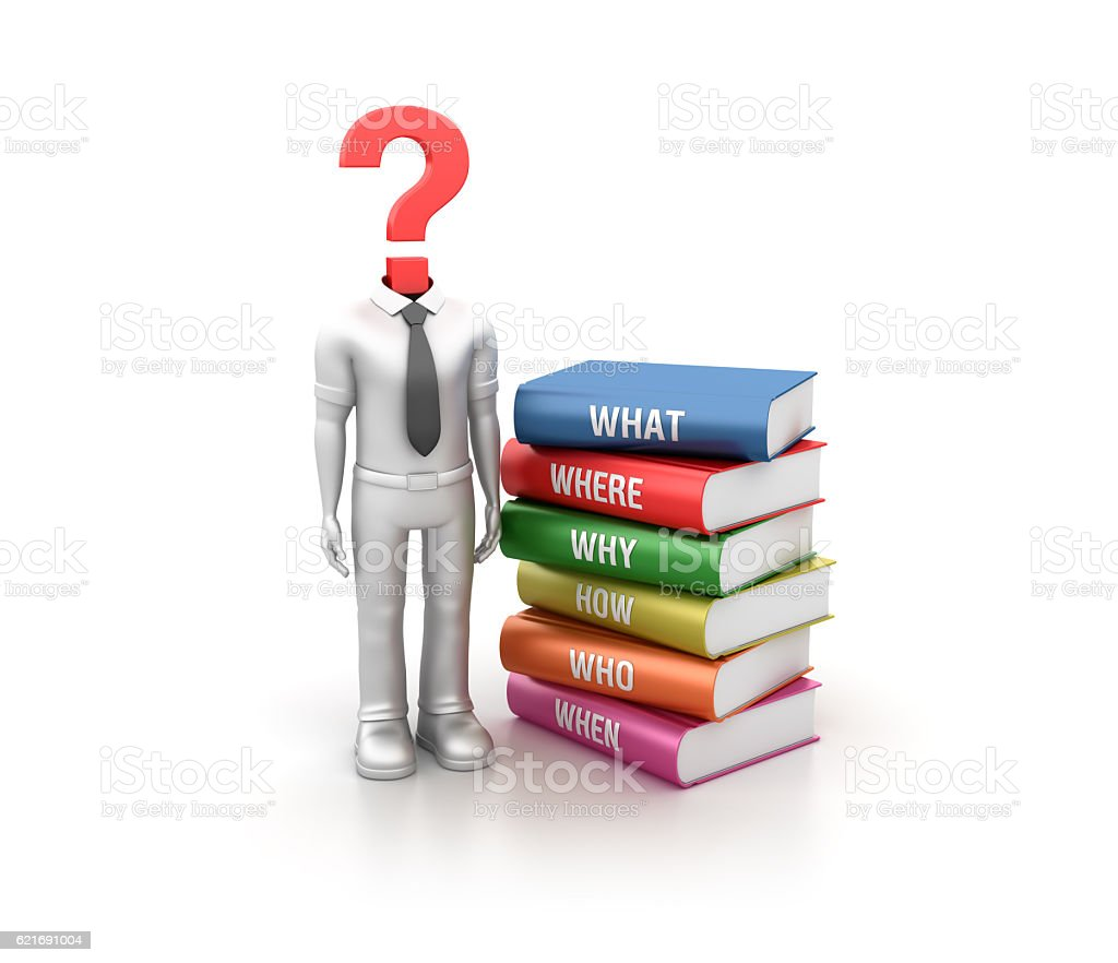 Books with Business Character and Question Mark stock photo