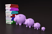istock Books with Piggy Bank 625869974