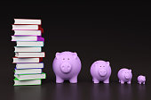 istock Books with Piggy Bank 625870110
