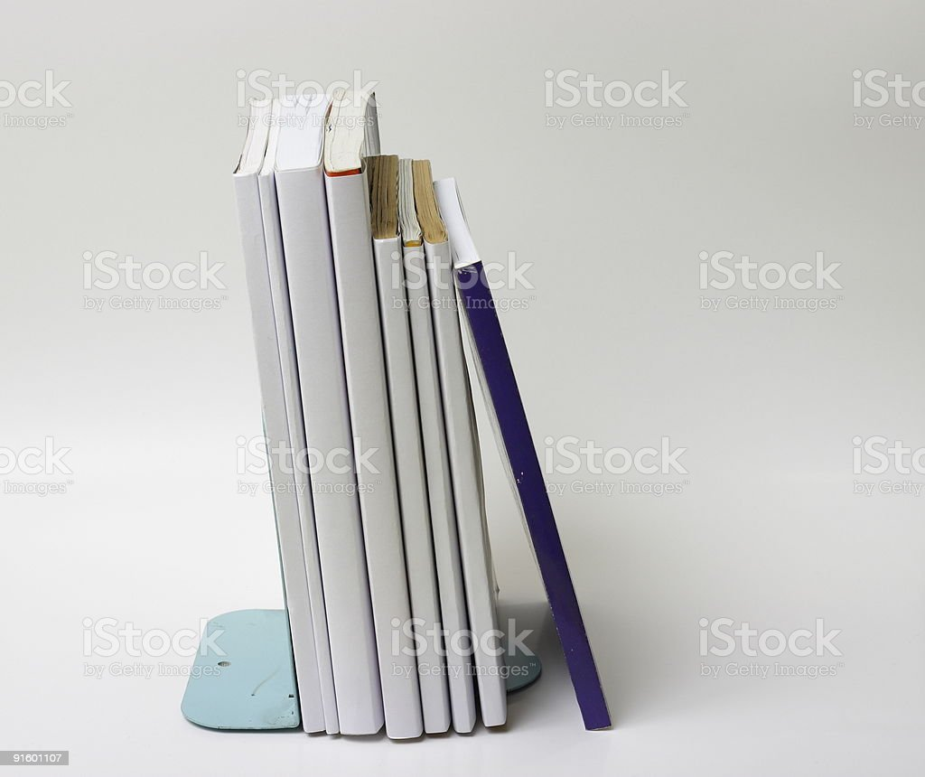 Books with stand slightly up view stock photo