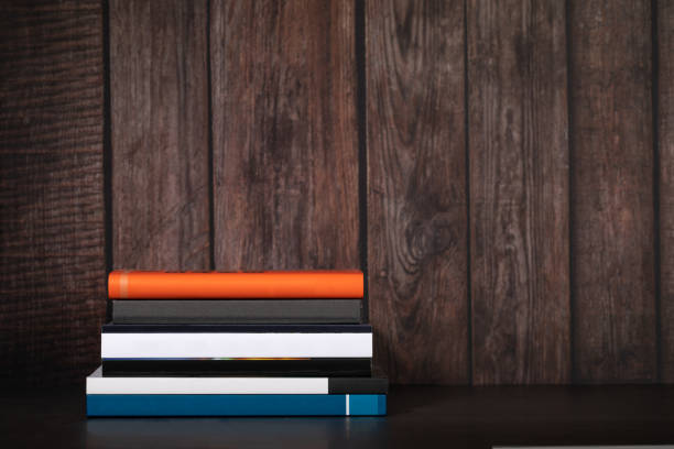 Books Wooden Panel Background stock photo