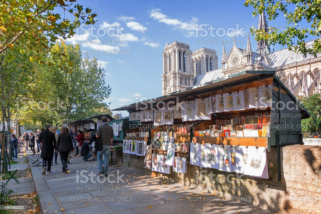 Bookseller's boxes along the Seine in Paris, France stock photo