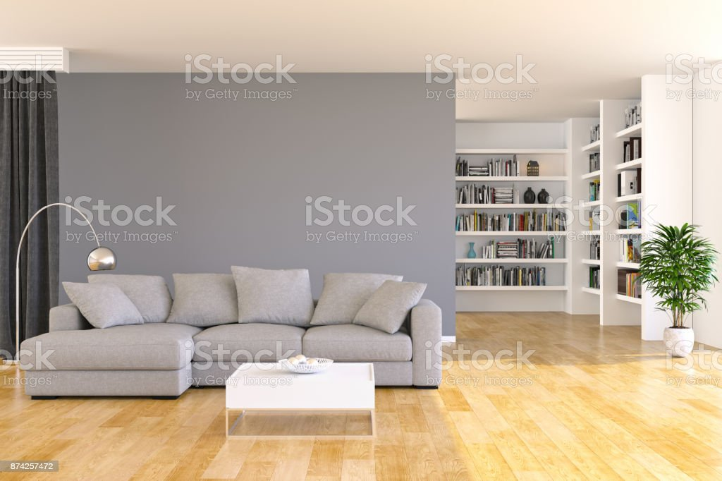 Bookshelf and sofa in living room stock photo