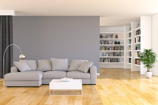 bücherregal und sofa im wohnzimmer - breit stock-fotos und bilder