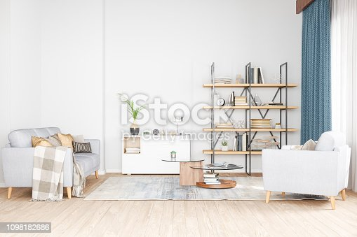 Bookshelf, armchair and sofa in living room