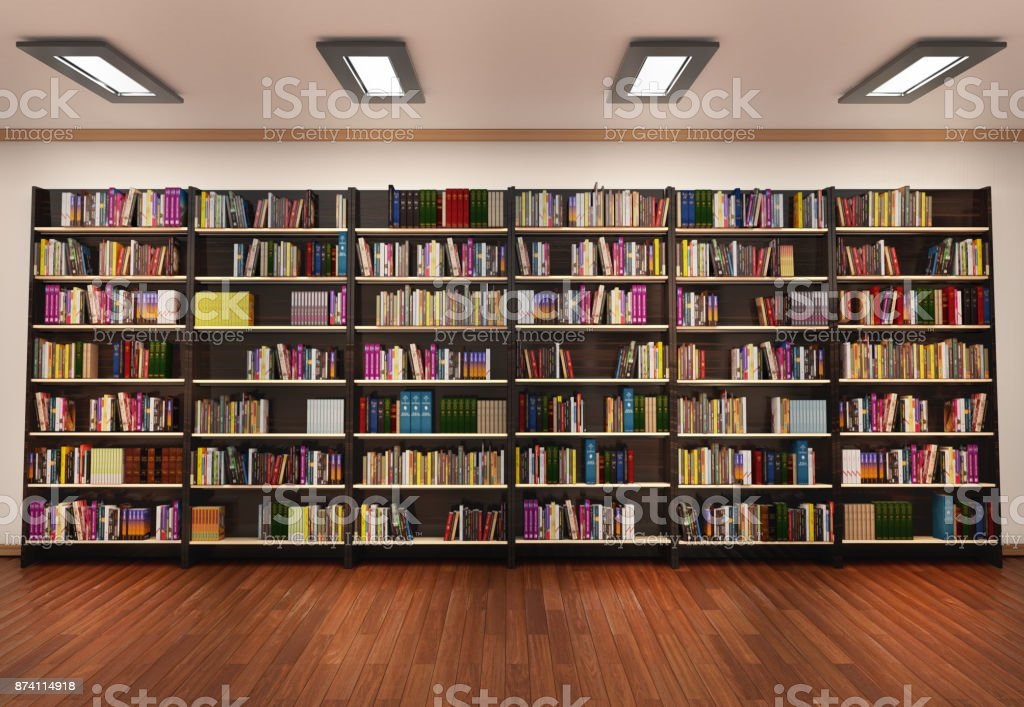 Bookshelf in book store stock photo