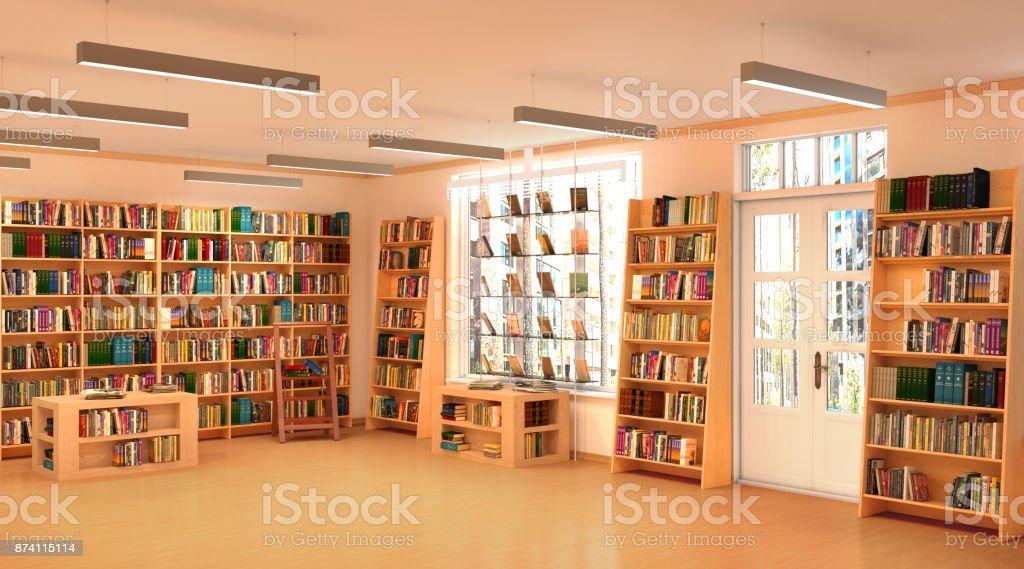 Bookshelf in book store stock photo