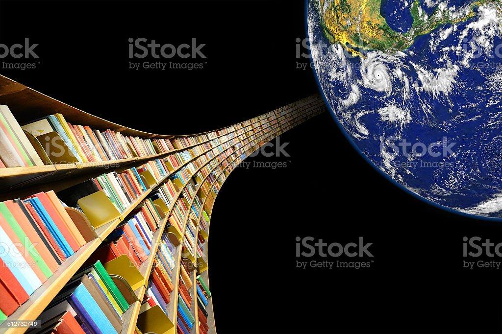 Bookshelf in orbit around earth. stock photo