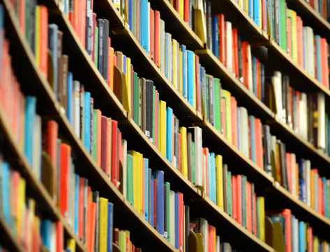 Bookshelf inside Stockholm Public Library
